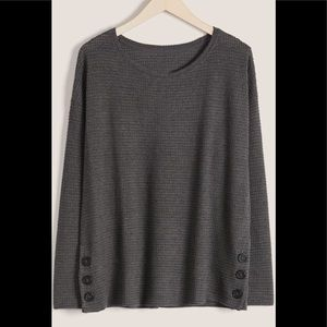 Addition Elle Waffle Top with Side Button Detail- NWT- Size 2X